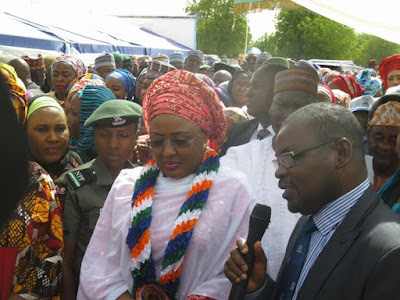Photos: Aisha Buhari visits Maiduguri to commissions 572 capacity female hostel in UNIMAID