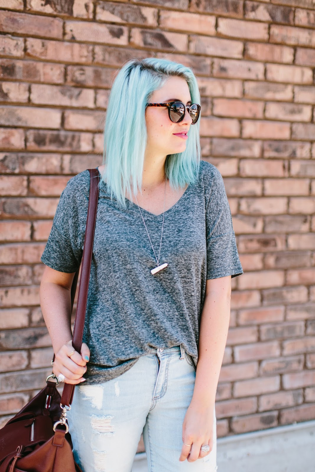 Grey Tee, Blue Hair, Mint Hair
