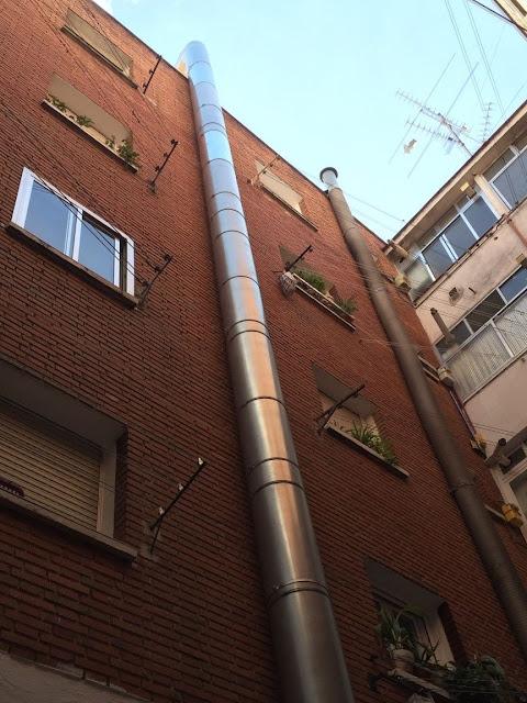 foto salida humos restaurante en Madrid por fachada
