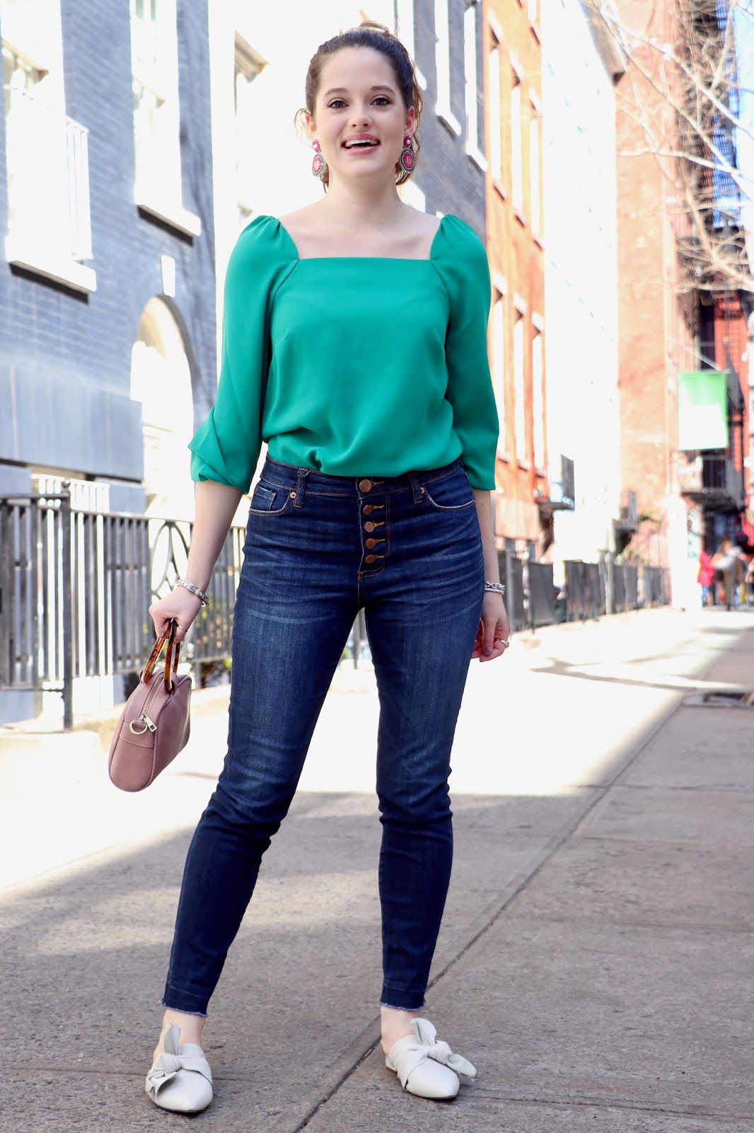 Nyc fashion blogger Kathleen Harper wearing a denim spring outfit