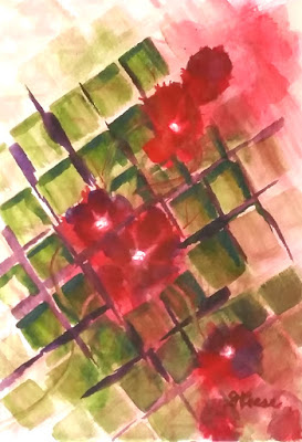 Watercolor - Flowers on Lattice - JKeese