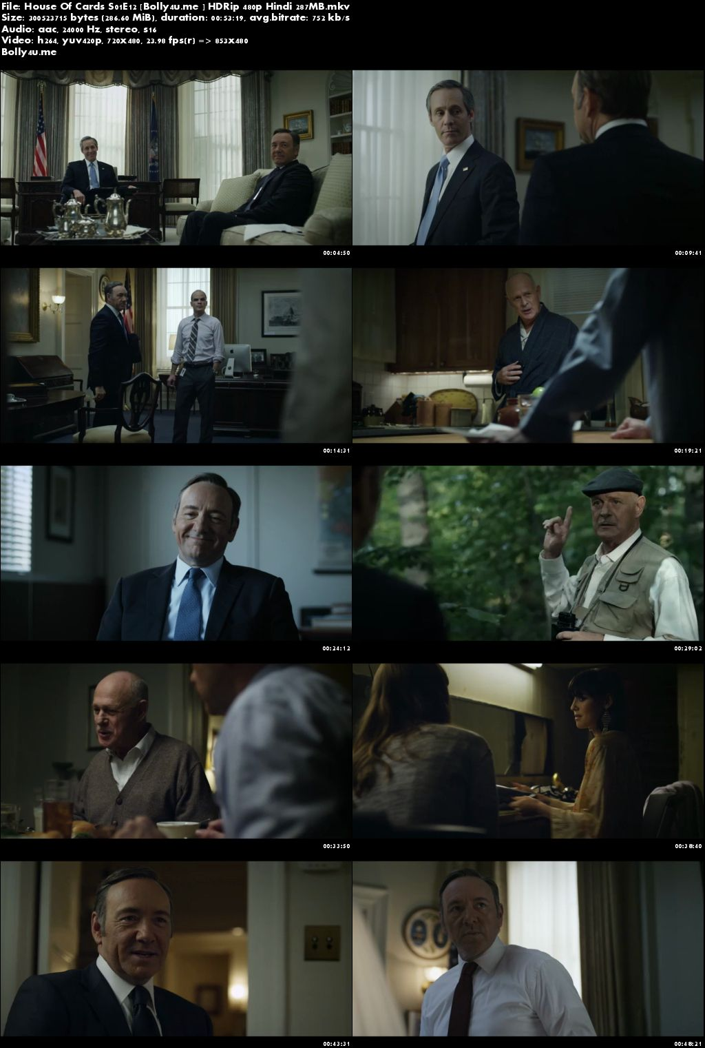 House Of Cards S01E12 HDRip 250MB Hindi Dubbed 480p Download