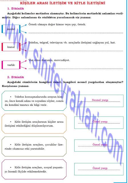 8. Sınıf Türkçe Dörtel Yayınları Çalışma Kitabı Cevapları Sayfa 16