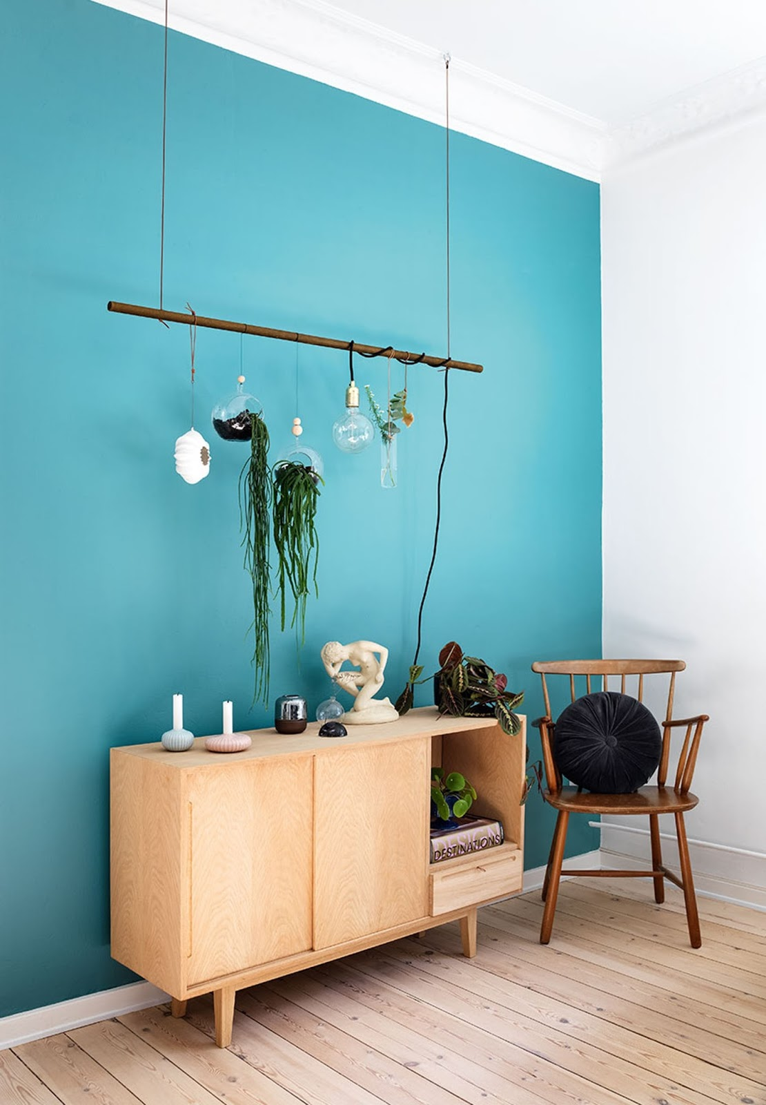 teal painted wall, diy ideas, mid century modern sideboard, scandinavian apartment