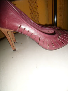 sapato yessica cor bordo  salto 8  em couro