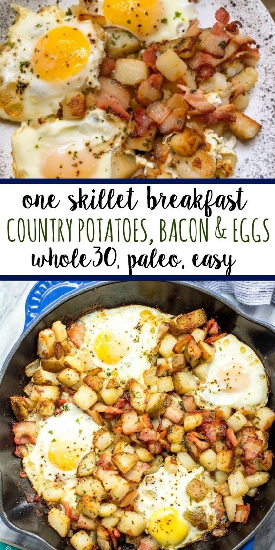 Country Potatoes, Bacon & Eggs Whole30 Breakfast Skillet