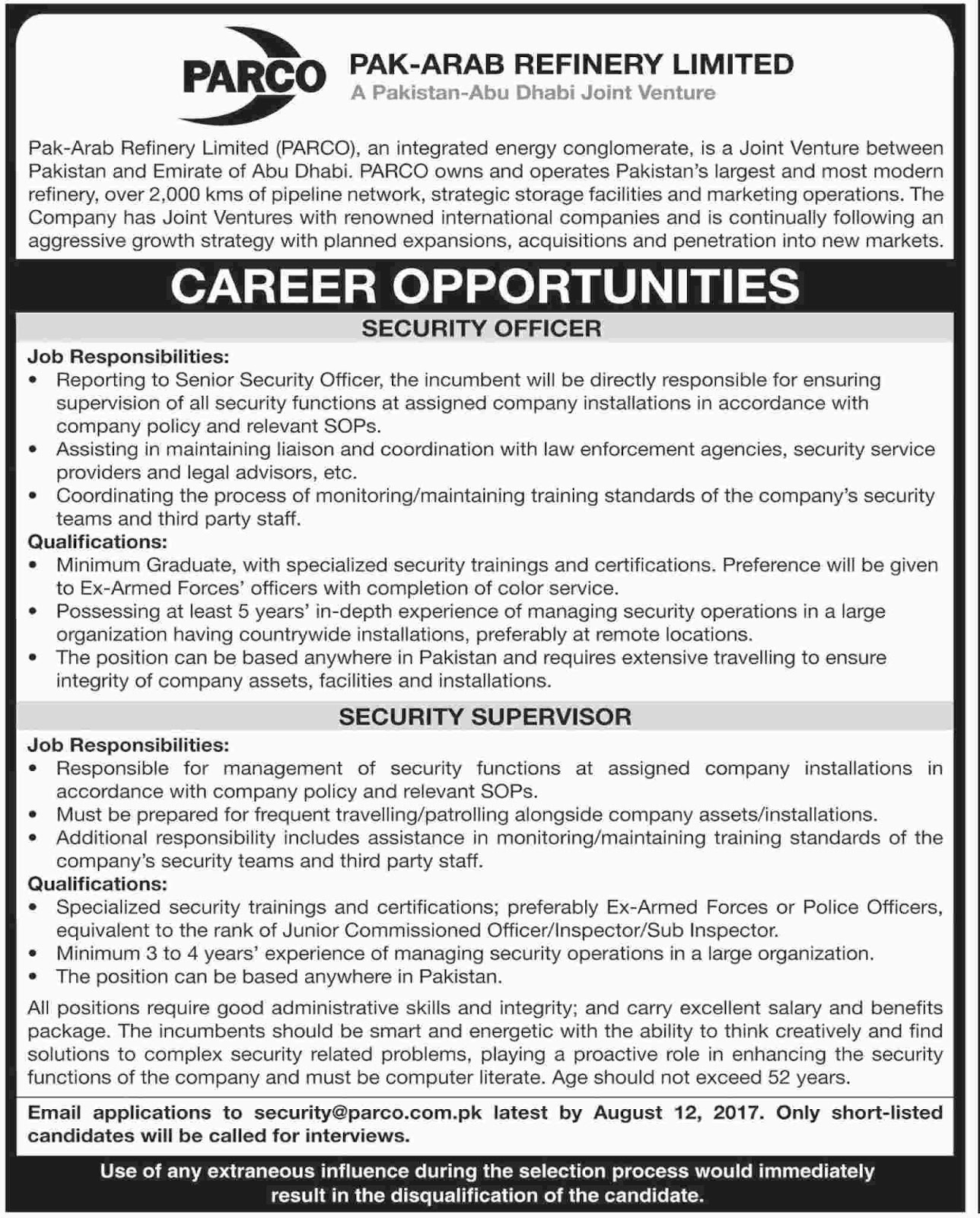 Pak Arab Refinery Limited (PARCO) Job  31 July 2017.