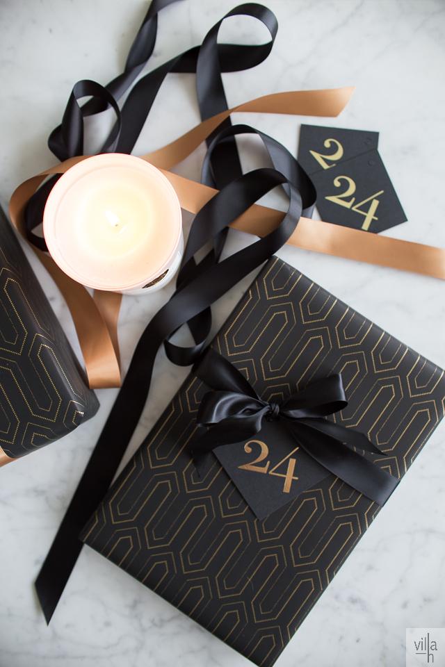 kp interiors, paketointi, kulta ja musta, joulu
