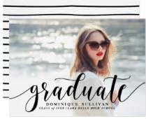 Black Modern Calligraphy Graduation Announcement