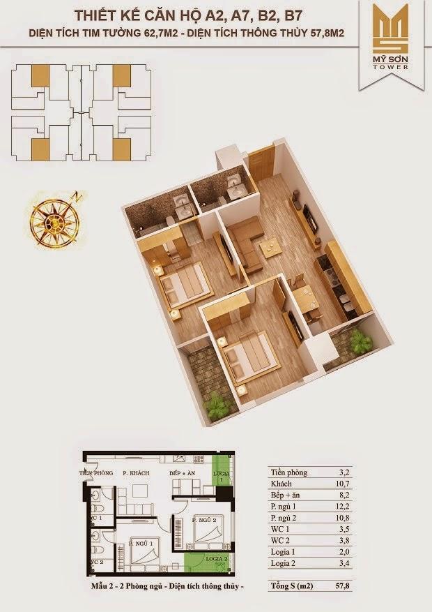 Căn 57.8 m2 thông thủy