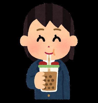 タピオカミルクティーを飲む人のイラスト(女子学生)