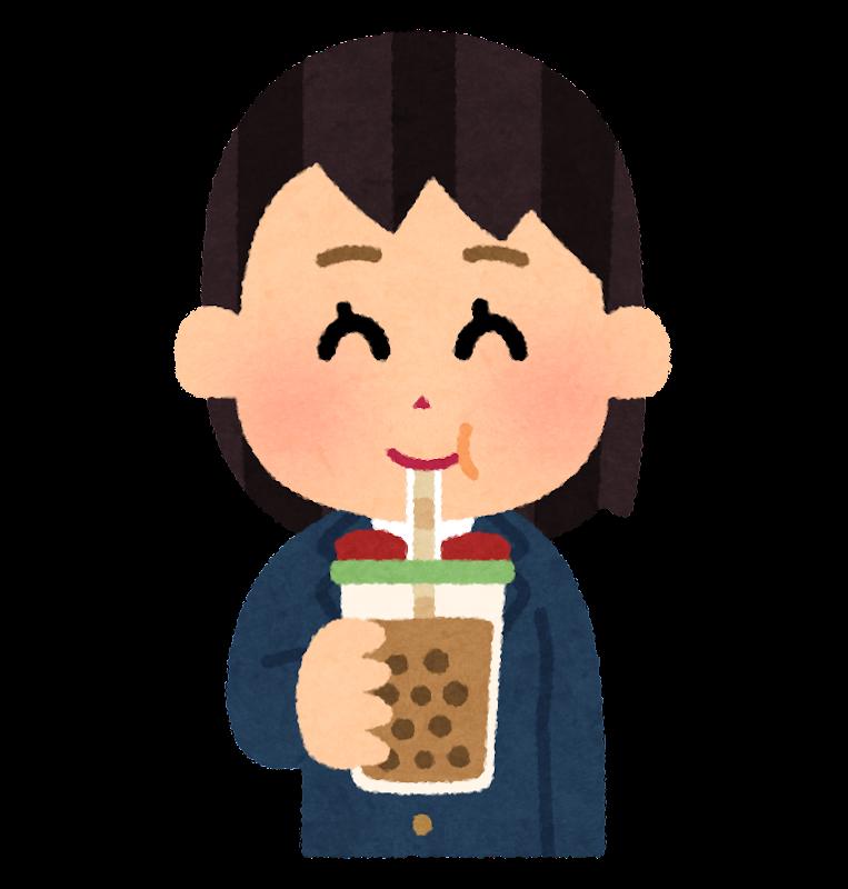 タピオカミルクティーを飲む人のイラスト女子学生 かわいいフリー