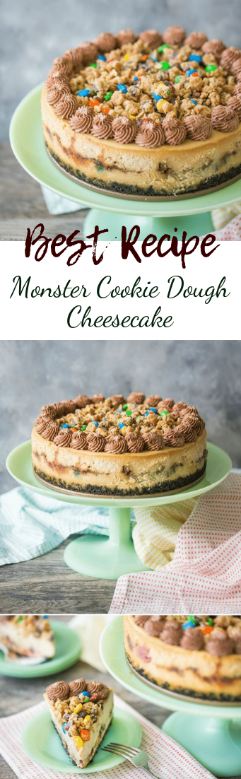 Monster Cookie Dough Cheesecake #desserts #cakerecipe