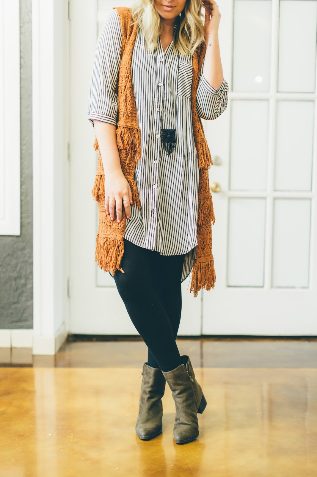 Striped Tunic, Fringe, Modest Fashion Blogger