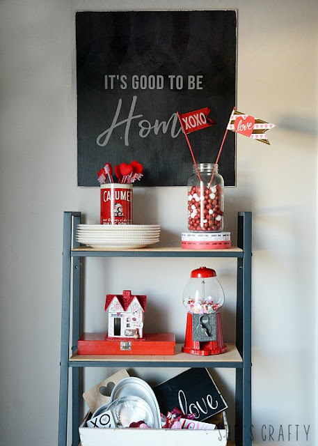 Valentine's Day Vignettes, farmhouse shelving unit, Valentine's Day Decor