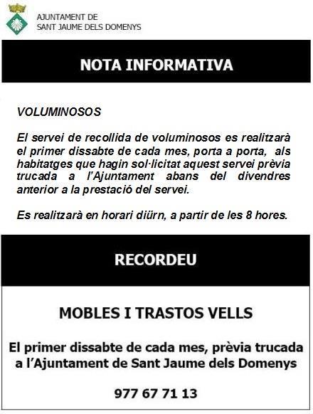 Recogida Voluminosos, Mobles i Trastos Vells dissabte 4 de març de 2017 Sant Jaume dels Domenys