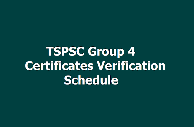 TSPSC Group 4 Certificates verification Schedule 2019 Released