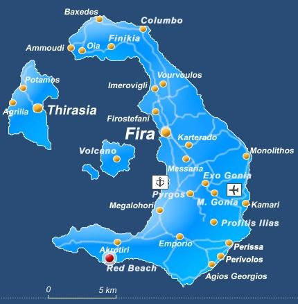 Mapa sitios turisticos de Santorini