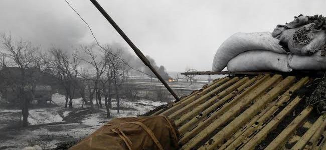 Вид на колону бойовиків з позиції «Зеніт», 22 січня 2015
