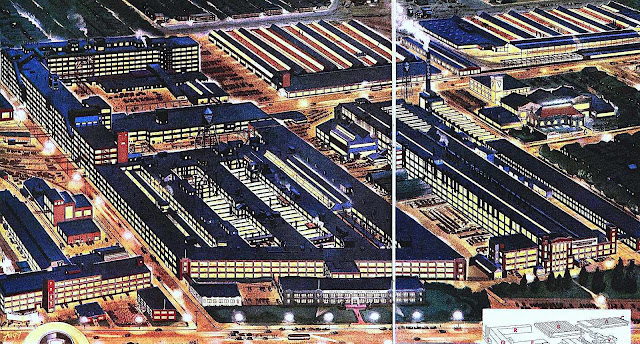 a Ken Fagg illustration, 1947 factory at night, birdseye view