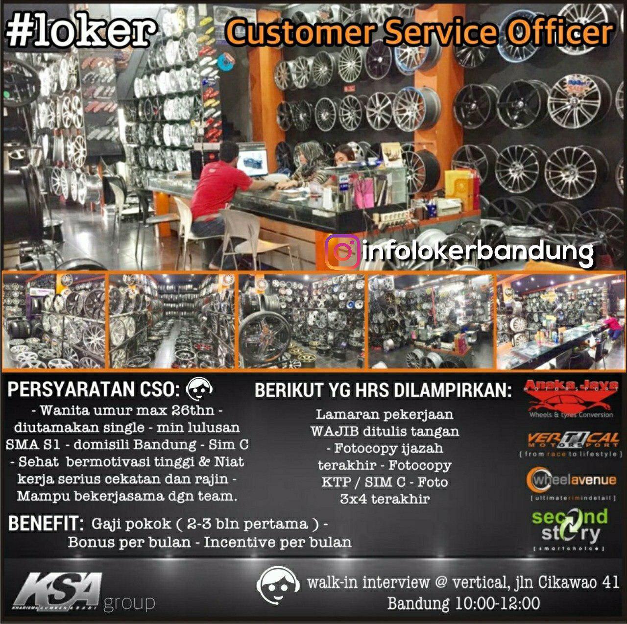 Lowongan Kerja Customer Service Officer Vertical Motorsport ( KSA Group) Bandung Juli 2018 - infolokerbandung.com