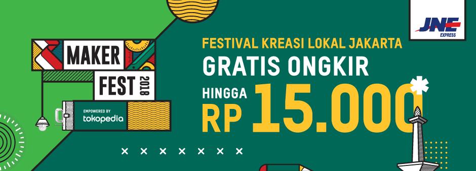 #Tokopedia - Promo Gratis Ongkir JNE s.d 15K di Festival Kreasi Lokal (s.d 31 Des 2018)