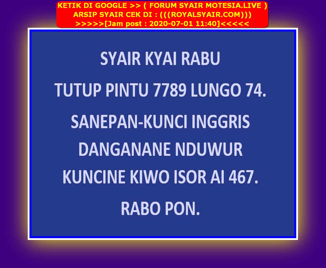 Kode syair Singapore Rabu 1 Juli 2020 37
