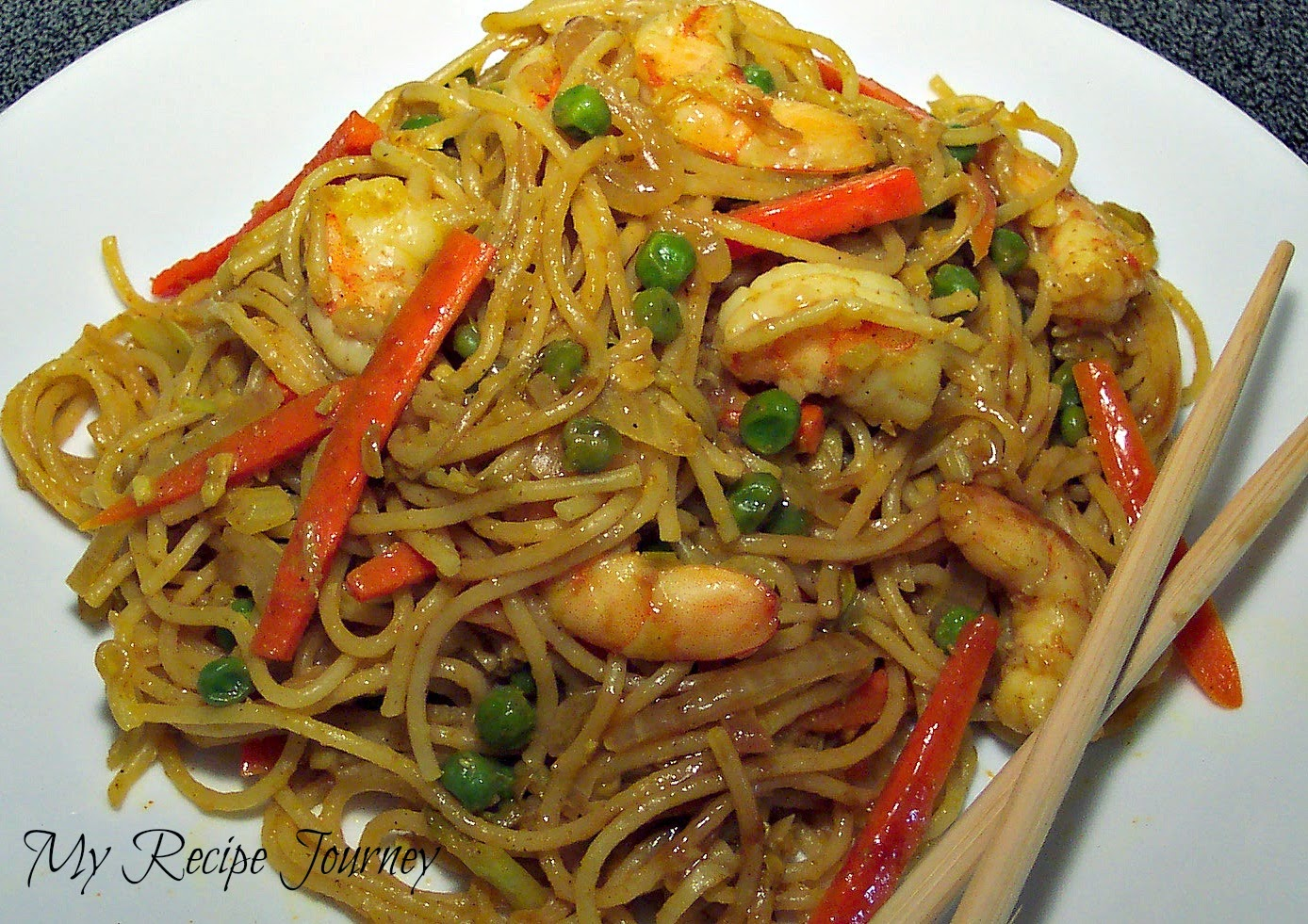 Not absolutely asian noodles with shrimp are
