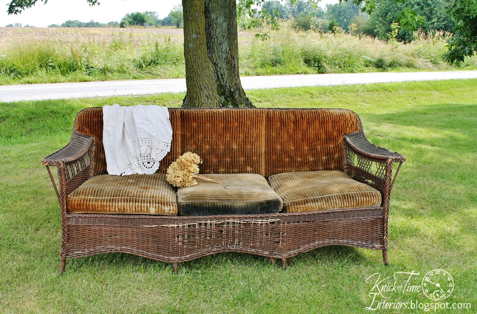 Grain Sack Wicker Sofa Before During After
