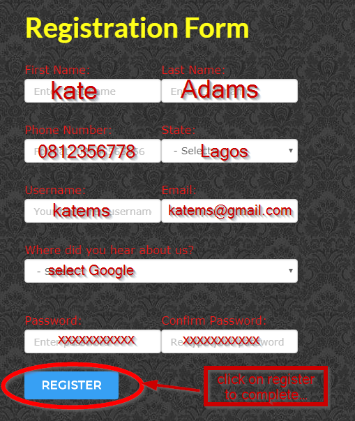 mobilenig registration form
