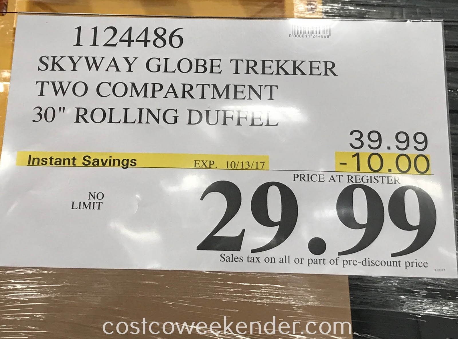 Deal for the Skyway Globe Trekker Two Compartment Rolling Duffel at Costco