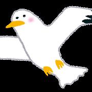 飛ぶカモメのイラスト(鳥)