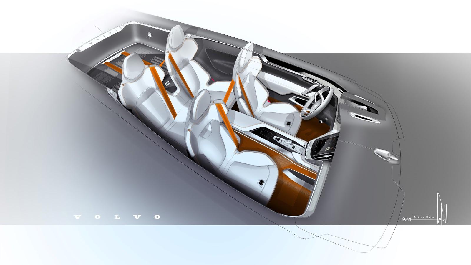 Volvo Concept Estate sketch interior view by Niklas Palm