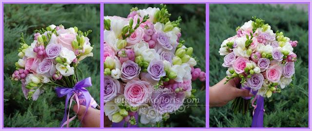 Fioletowo różowy bukiet ślubny - opolskie - pastelowa wiązanka Panny Młodej