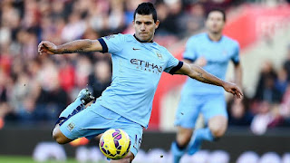 Aguero playing for Manchester city