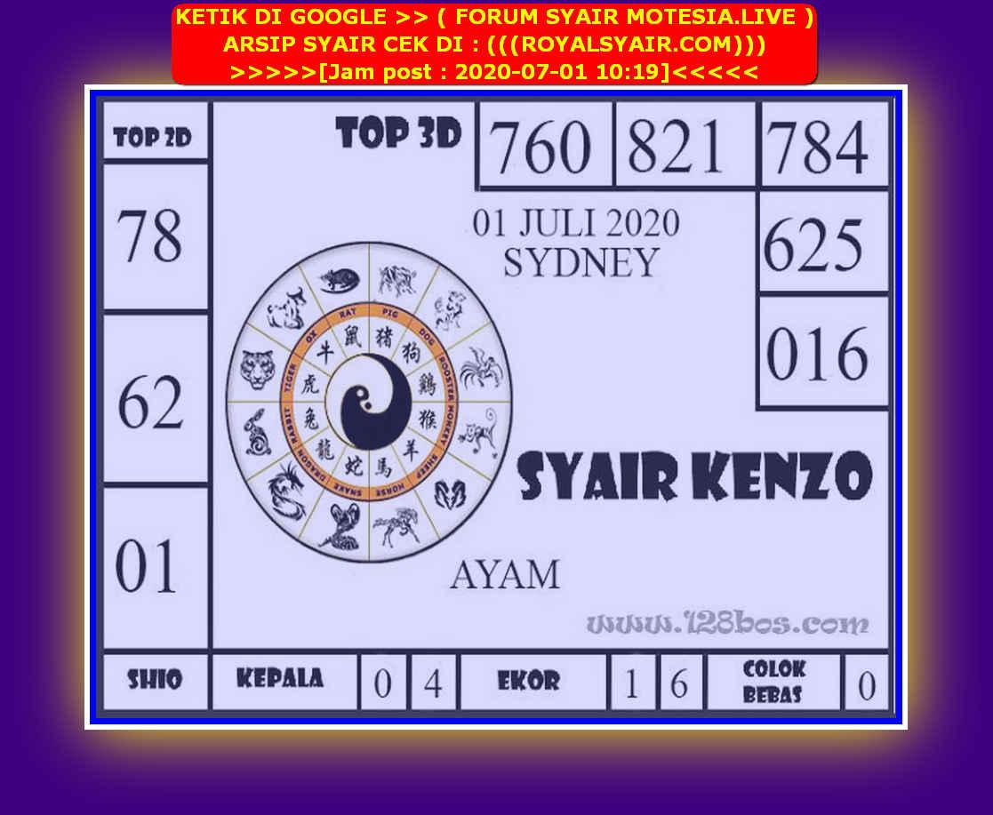 Kode syair Sydney Rabu 1 Juli 2020 199