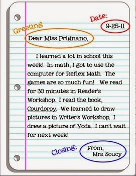 Another way to teach your students the parts of a friendly letter is with this handy flipbook. This idea was found over at Teaching Maddeness: