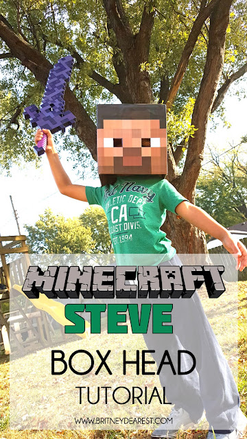 minecraft steve, craft, box, head, tutorial, youtube, how to, build, DIY, do it yourself, minecraft, easy, quick, cheap