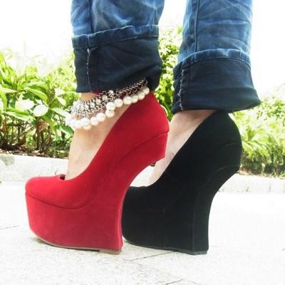 Cheap Black Wedge Shoe Boots