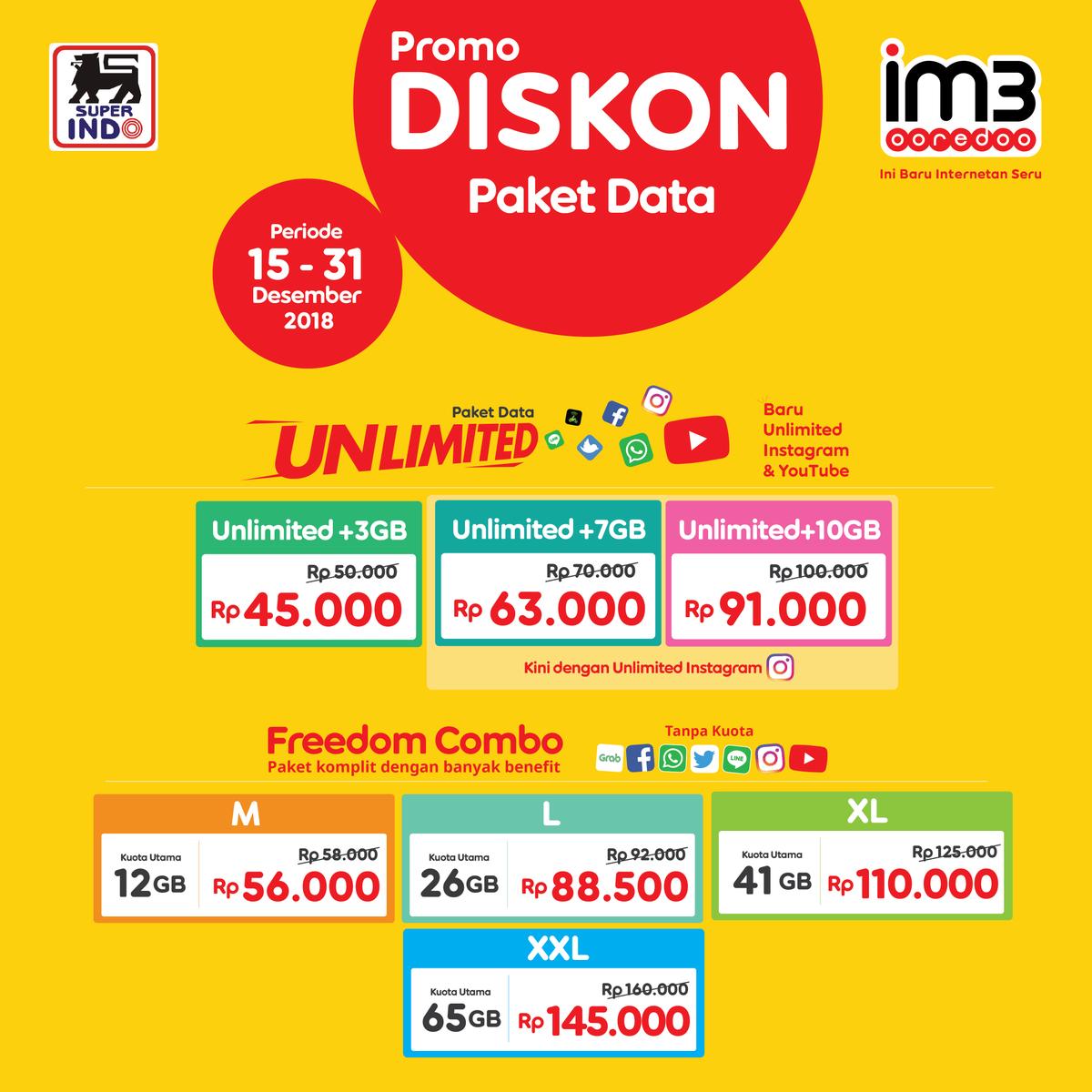 #Superindo - Promo Diskon Paket Data IM3 Ooredo MUlai 45K (s.d 31 Des 2018)