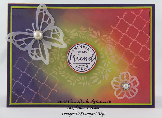 Ghosting Technique, Hello Friend, #thecraftythinker, Stampin Up Australia Demonstrator, Stephanie Fischer, Sydney NSW