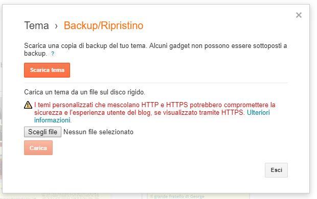 schermata backup tema su blogger