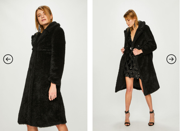 Answear - Palton dama imblanit negru lung de iarna la reducere