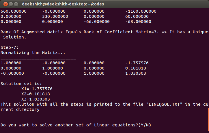 Source Code of Linear Equation Step by Step Solver in C Language