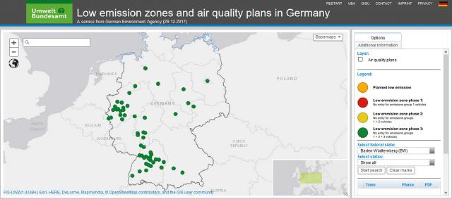 Alemanya i zones regulades segons emisió de gasos.