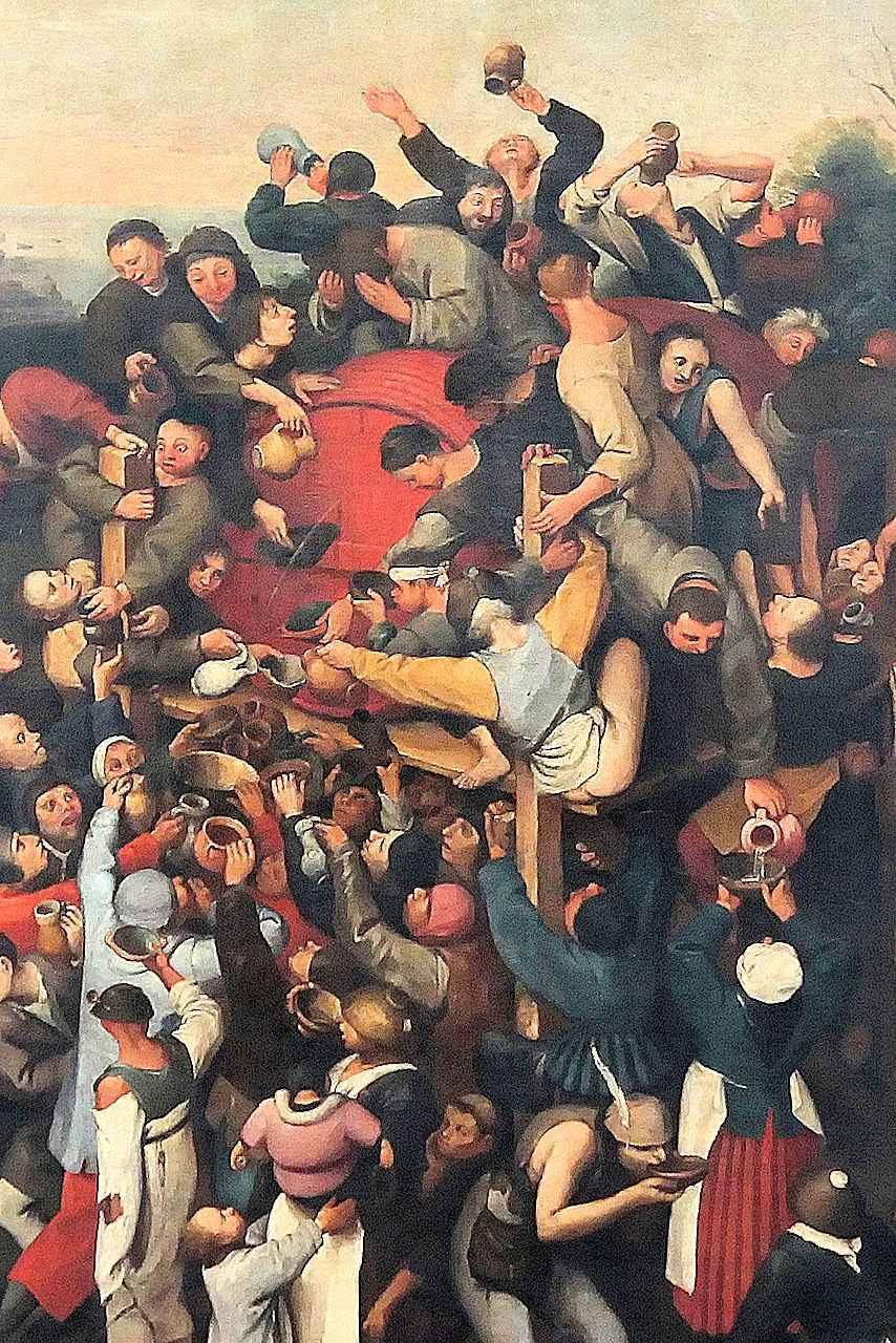 """Lutero: """"Quando eu era jovem, a embriaguez era uma grande ignomínia ... (agora) a Alemanha é um país pobre,ferido pelo diabo do copo e de todo submergido neste vício"""" Ilustração: 'O vinho da festa de São Martinho'. Pieter Bruegel (1525-1530 — 1569), detalhe."""