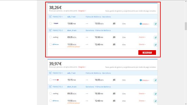 Captura de pantalla con el precio ofrecido por Atrapalo, donde se tiene descuento por método de pago al usar una tarjeta Maestro