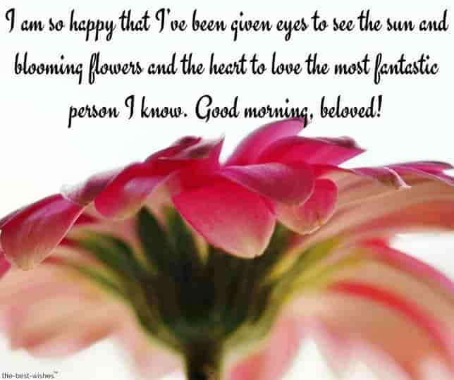 good morning text message gf with sweet flower