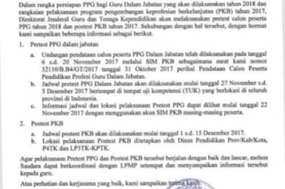 Jadwal Pretest PPG dan Postest PKB Tahun 2017