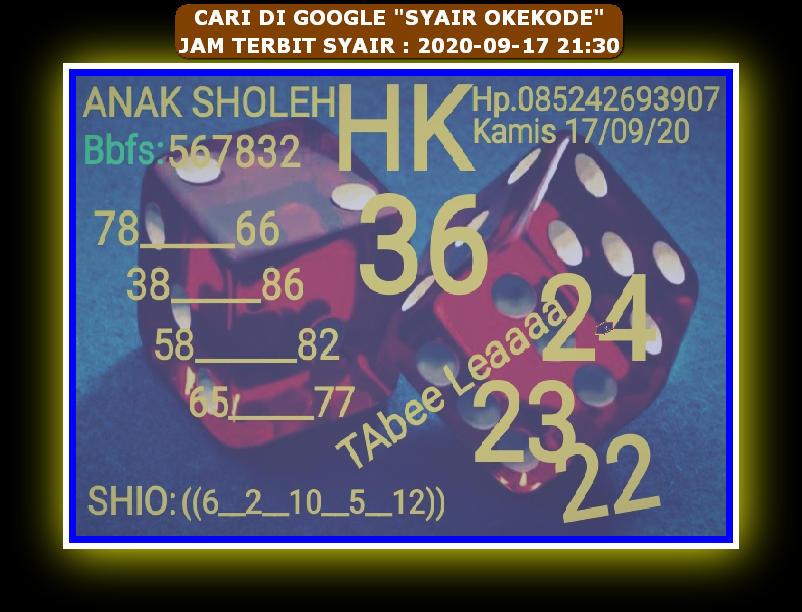 Kode syair Hongkong Kamis 17 September 2020 15